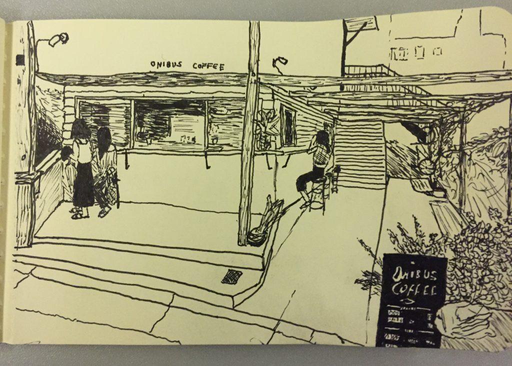 Sketch of Onibus Coffee in Tokyo